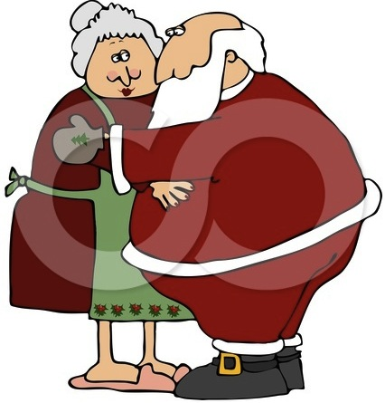 26631-Clipart-Illustration-Of-Santa-And-Mrs-Claus-Embracing-Each-Other-In-A-Hug