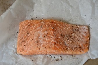 Salmon, seasoned with kosher salt, pepper and coconut oil spray