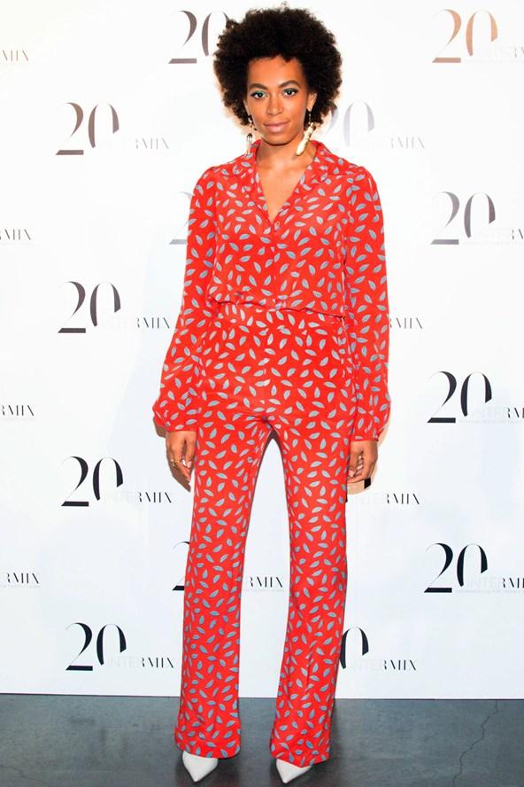 Solange-Knowles-Intermix-20th-Anniversary-Celebration-Diane-von-Furstenberg-Red-Leaf-Printed-Jumpsuit-fall-2013-4