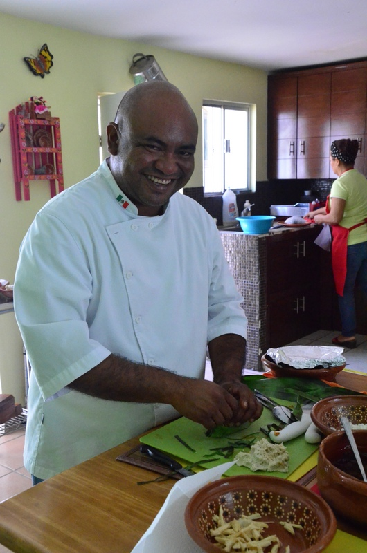chef Enrique making the tamales