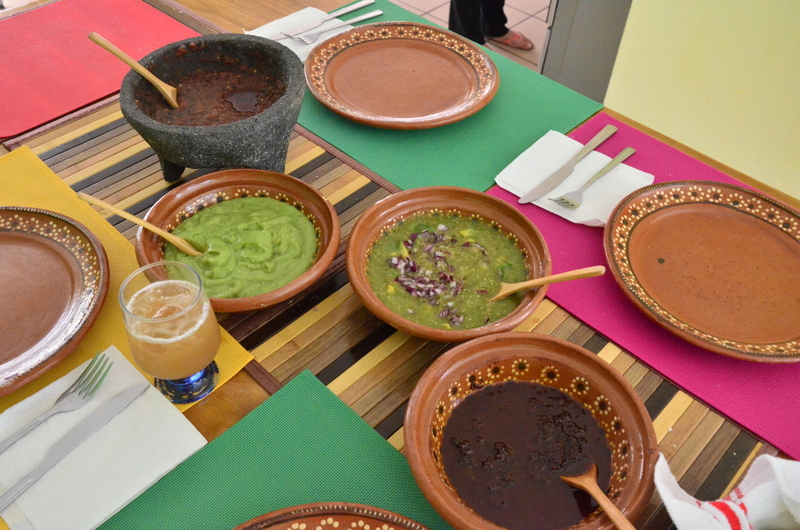 the salsa spread, getting ready to eat lunch