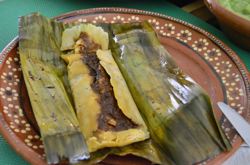 tamale with chicken mole