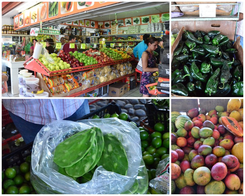 clockwise: market view, poblano peppers, mangos, nopales (cactus)